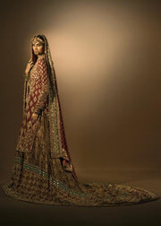Latest Pakistani embroidered lehnga in gold and maroon color # B3376