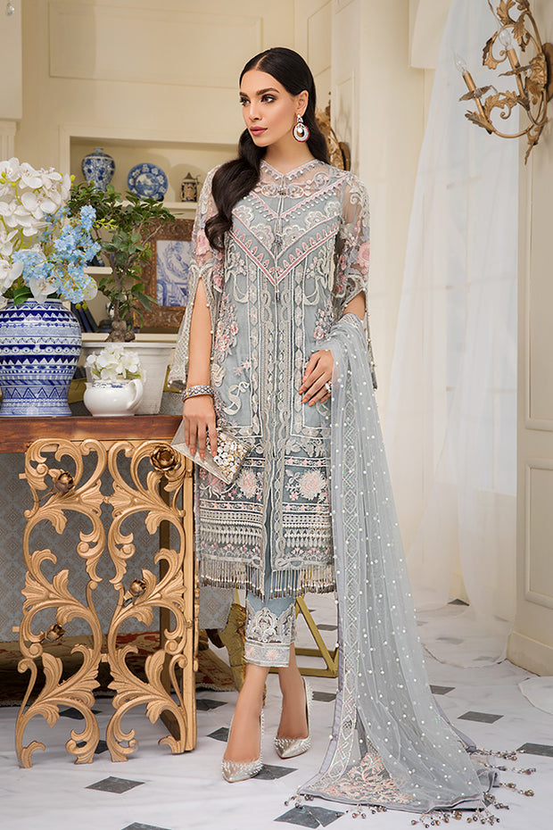 Beautiful Pakistani embroidered net outfit in silver grey color
