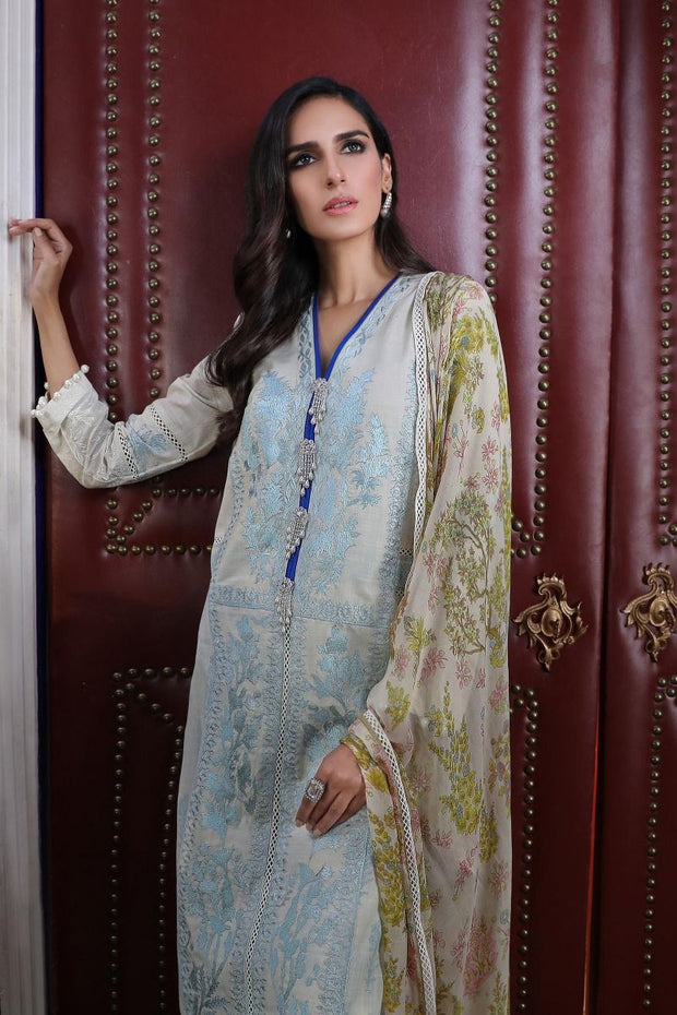 Pakistani embroidered slub dress for casual wear in silver grey color # P2399