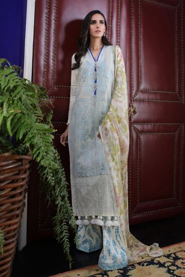 Pakistani embroidered slub dress for casual wear in silver grey color