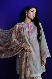 Pakistani embroidered slub outfit for casual wear in silver grey color # P2400