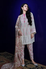 Pakistani embroidered slub outfit for casual wear in silver grey color