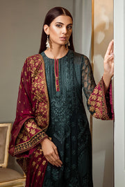 Pakistani fancy dress in green and maroon color # P2224