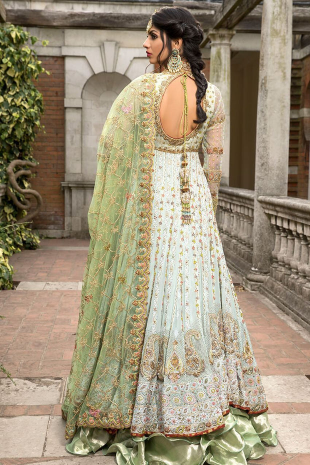 Beautiful Pakistani fancy outfit in lavish aqua color # B3305