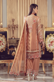Chiffon embroidered Pakistani formal eid dress in rust color # P2492