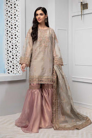 Beautiful Pakistani gharara dress in lavish beige color