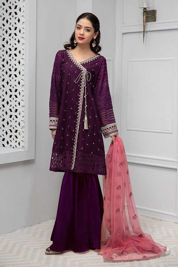Beautiful Pakistani gharara suit with angrakha style shirt # P2222