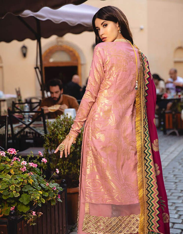Beautiful Pakistani printed  jacquard dress in tea pink color # P2407
