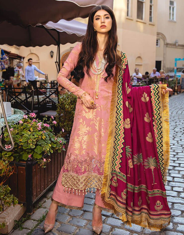 Beautiful Pakistani printed  jacquard dress in tea pink color