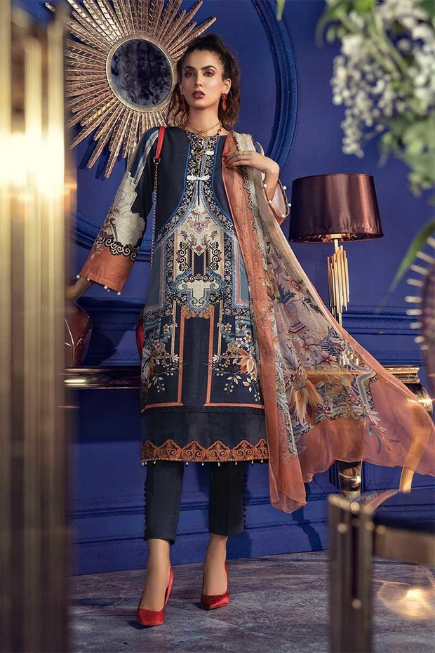 Beautiful Pakistani khaddar dress in dark blue color