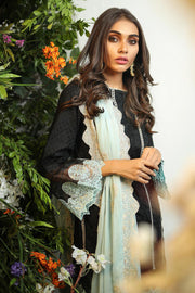 Pakistani lawn dress embroidered in elegant black color # P2263