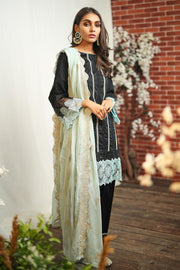 Pakistani lawn dress embroidered in elegant black color