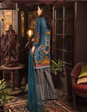 Beautiful embroidered Pakistani linen dress in blue color # P2401