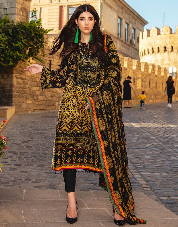 Latest designer Pakistani linen dress in deep black color