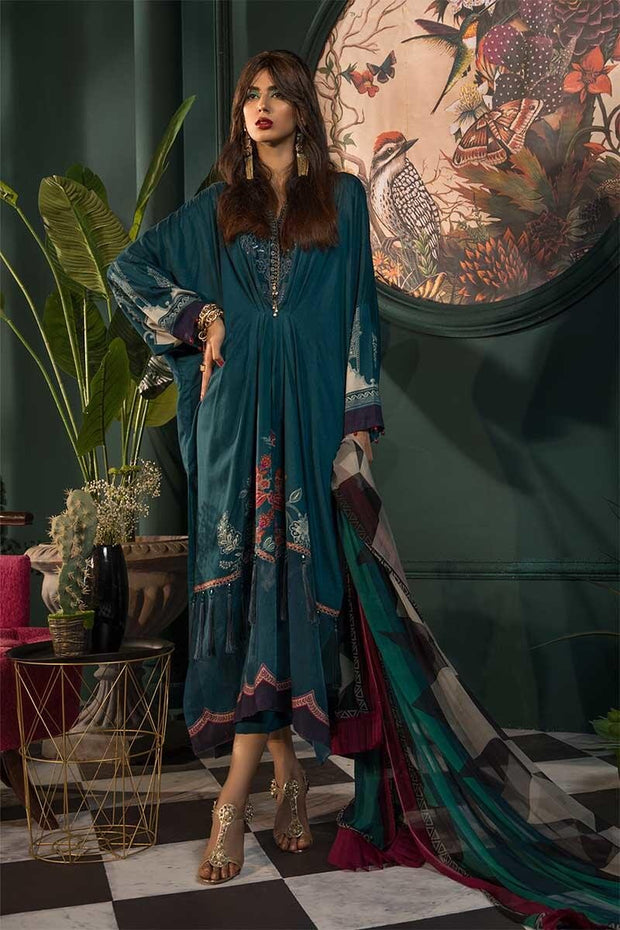 Beautiful Pakistani linen dress digitally printed in green color # P2362