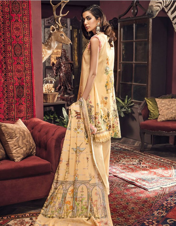 Beautiful embroidered Pakistani linen outfit in mustard color # P2402