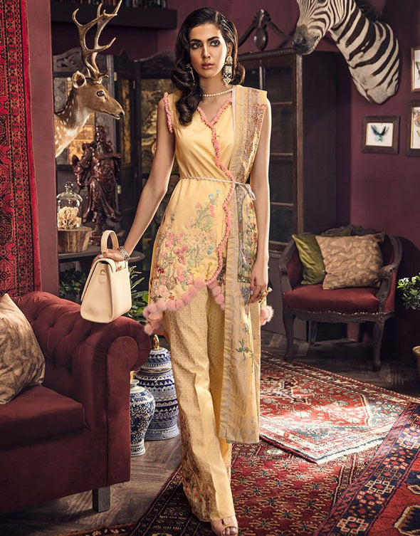 Beautiful embroidered Pakistani linen outfit in mustard color