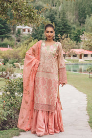 Beautiful Pakistani masuri embroidered outfit in peach color # P2378