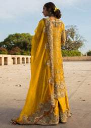 Latest Pakistani mehndi outfit for wedding wear in yellow color # B3390