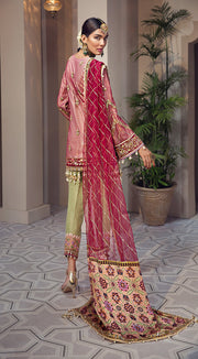 Beautiful embroidered Pakistani net dress in pink and red color # P2348