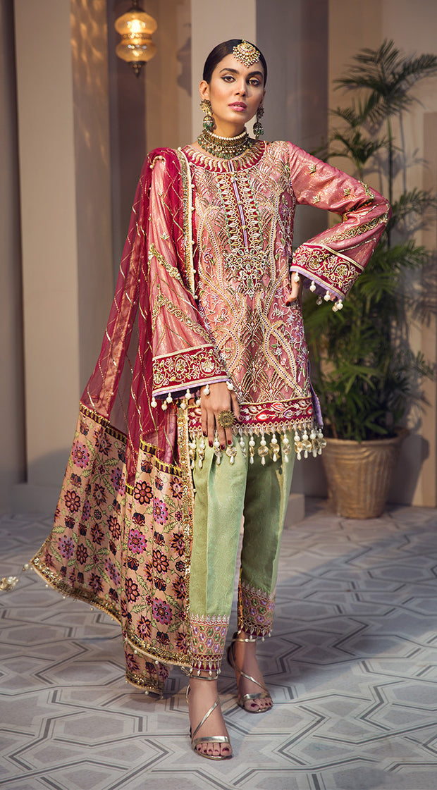 Beautiful embroidered Pakistani net dress in pink and red color
