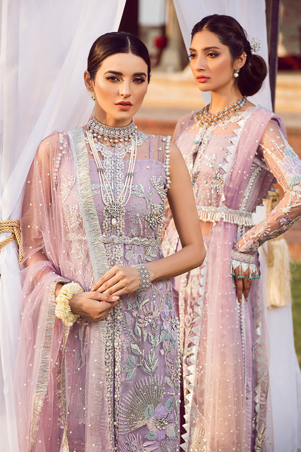 Latest designer embroidered Pakistani net outfit in lavish violet color # P2440