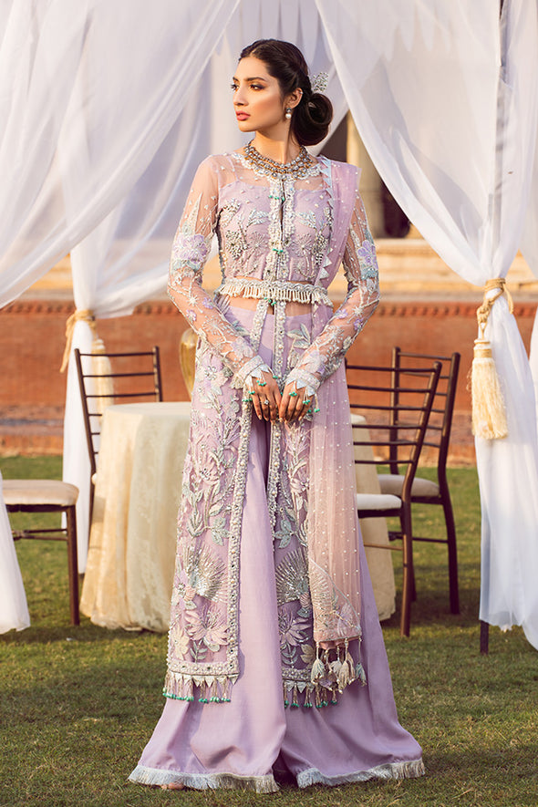 Latest designer embroidered Pakistani net outfit in lavish violet color
