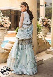 Pakistani party wear dress in tranquil blue color
