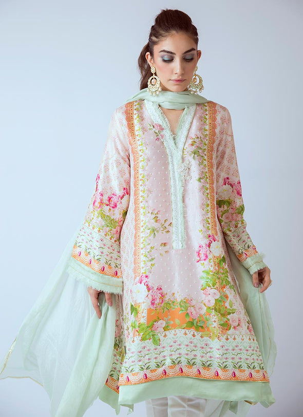 Beautiful Pakistani printed dress in lavish pink color # P2275