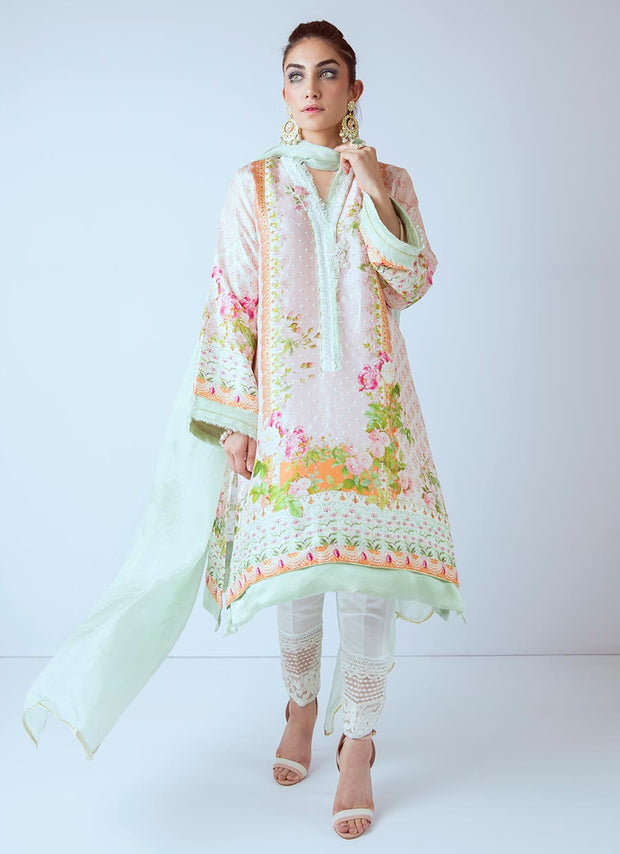 Beautiful Pakistani printed dress in lavish pink color