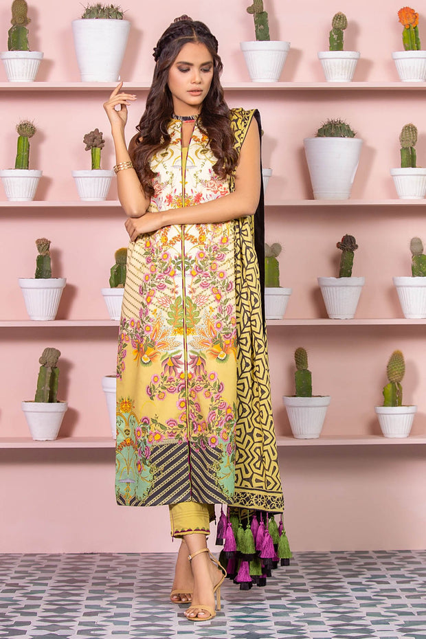Latest Summer Pakistani printed lawn dress in olive green color # P2499