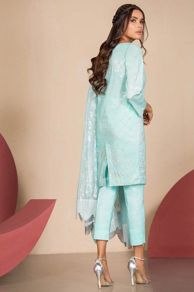 Latest Summer Pakistani printed lawn outfit in ice blue color # P2500
