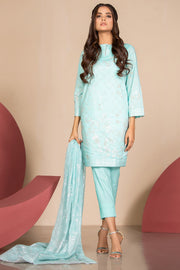 Latest Summer Pakistani printed lawn outfit in ice blue color