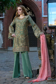 Beautiful Pakistani sequins embroidered dress in green color # P2307