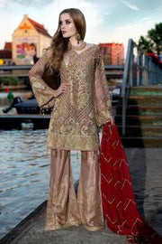 Beautiful Pakistani sequins embroidered outfit in brown color # P2308