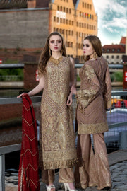 Beautiful Pakistani sequins embroidered outfit in brown color