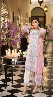 Pakistani thread embroidered dress in an elegant light color # P2258