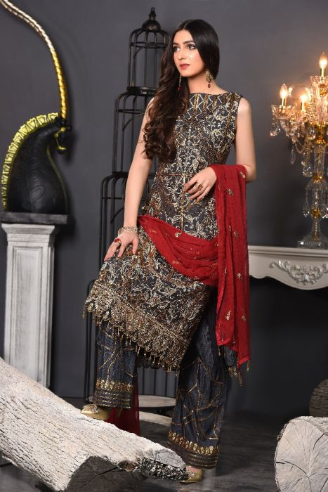 Pakistani Fancy Dress Of Dark Grey Colour 2