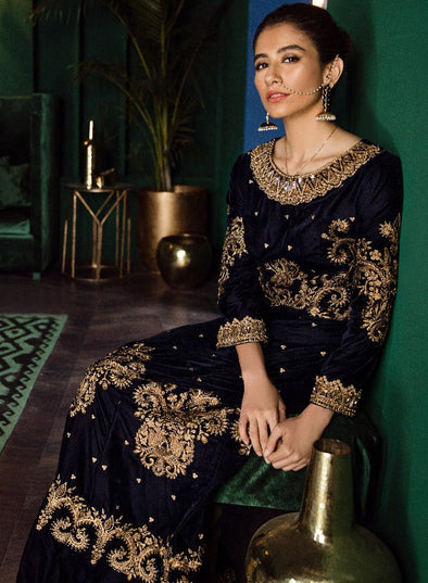Beautiful Pakistani velvet embroidered party outfit in navy blue color