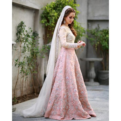 Pakistani Bridal Dress for Walima in Soft Colors