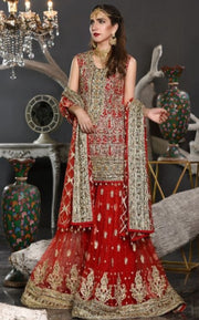 Pakistani Formal Dress of Deep Red Colour