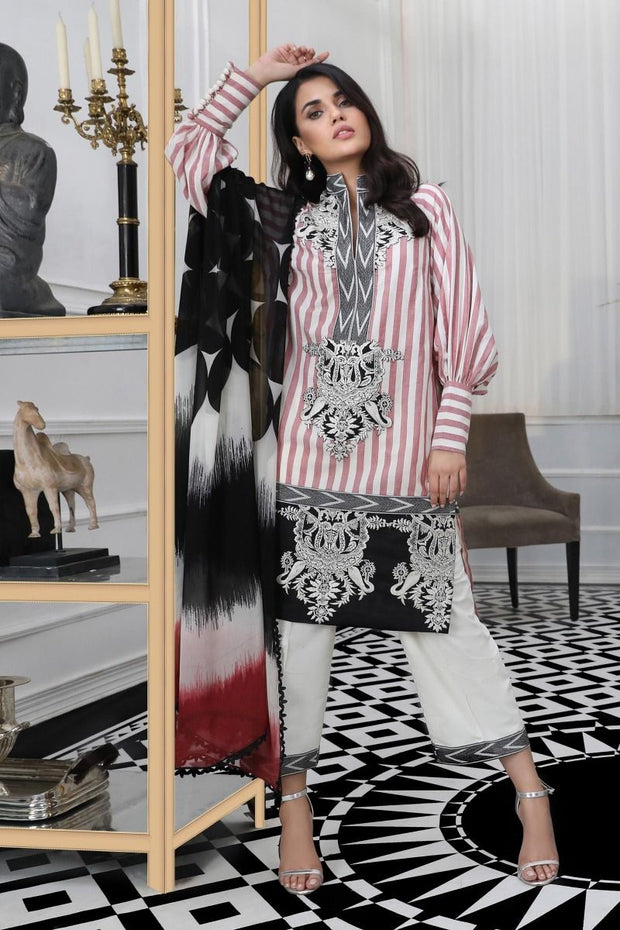 Pakistani woven dress for casual wear in white and black color
