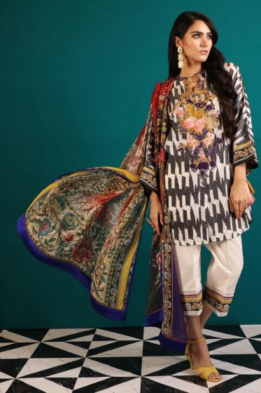 Beautiful Pakistani woven outfit for casual wear in off-white color # P2386