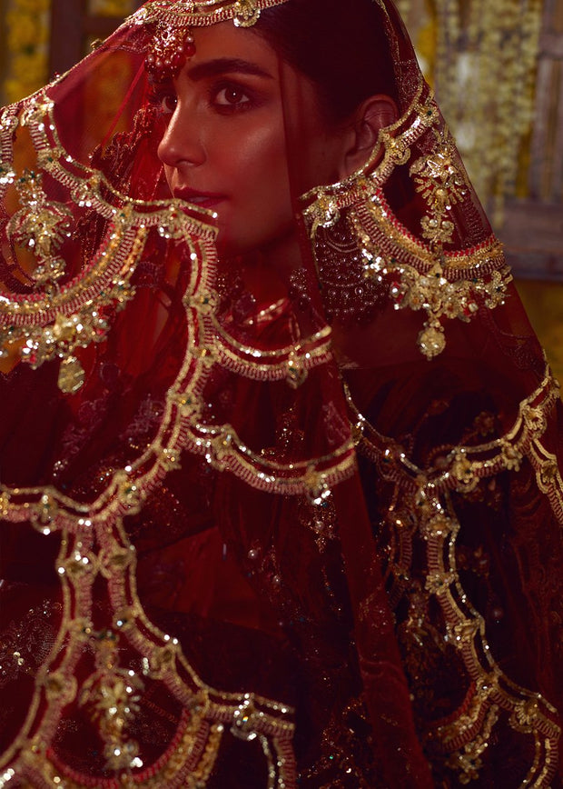 Latest Pakistani bridal dress 2020 online in maroon red color # B3463