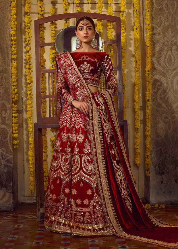 Latest Pakistani bridal dress 2020 online in maroon red color