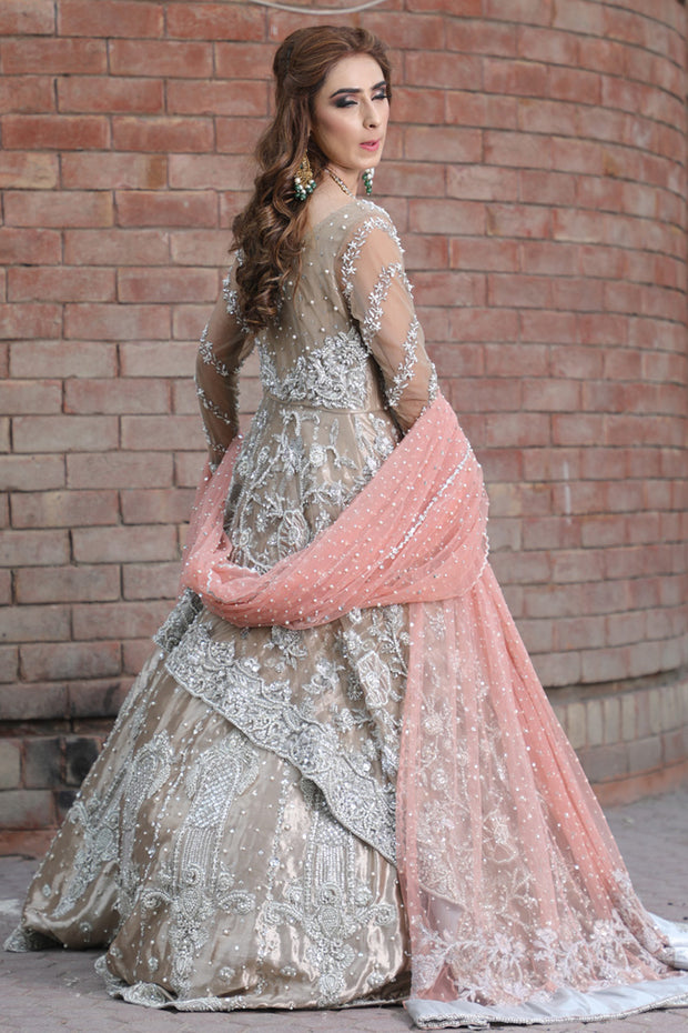 Latest beautiful Pakistani bridal outfit 2020 in rose gold color # B3460