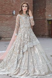 Latest beautiful Pakistani bridal outfit 2020 in rose gold color