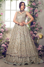 Latest beautiful Pakistani bridal outfit online in ice blue color