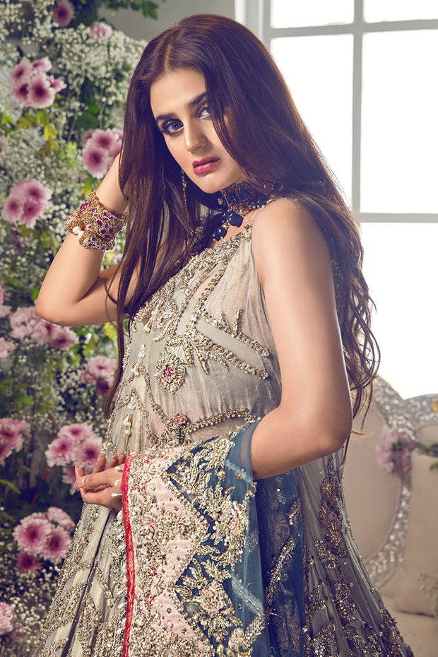 Latest beautiful Pakistani bridal outfit online in ice blue color # B3462