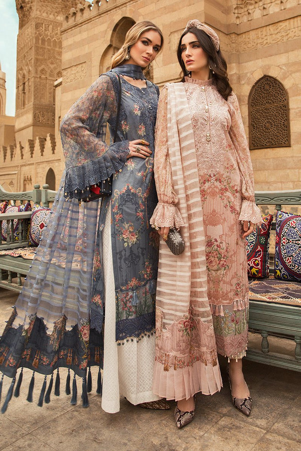 Embroidered Pakistani designer eid dress in lavish blue color # E2206
